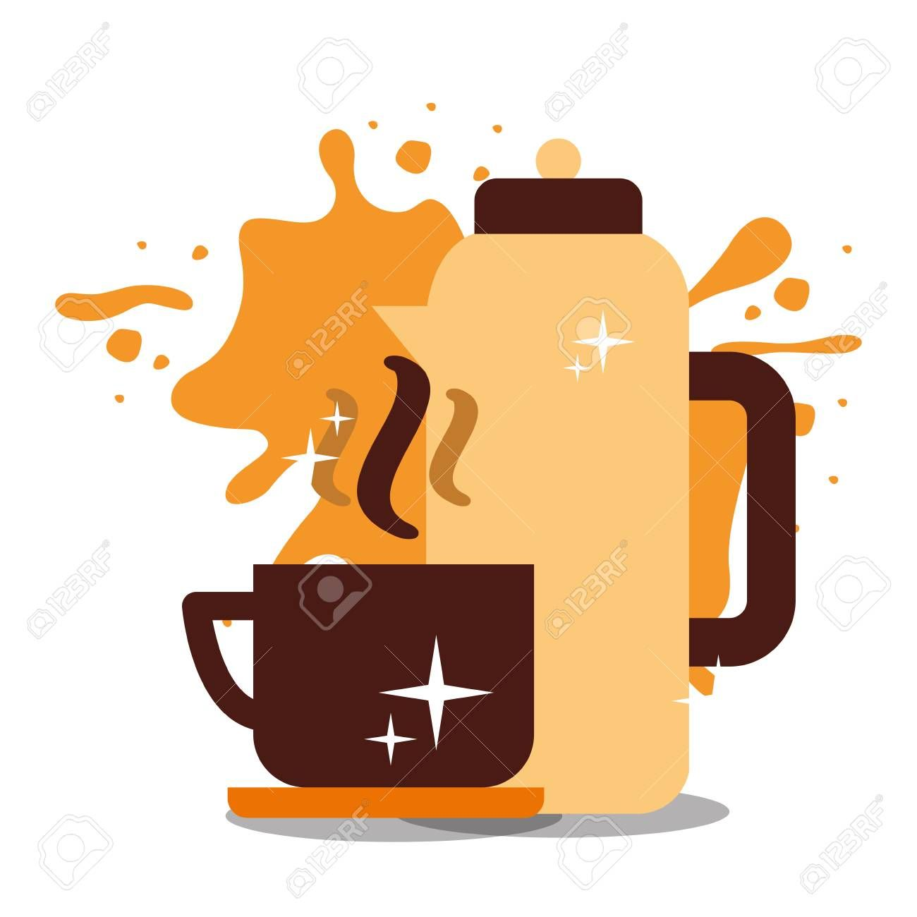 Coffee cup on dish with splashes background vector illustration