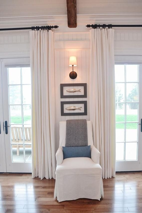 Photo of Natural color linen drapes, French pleated window curtain, contrast grosgrain trim, two 27W x 90L panels,