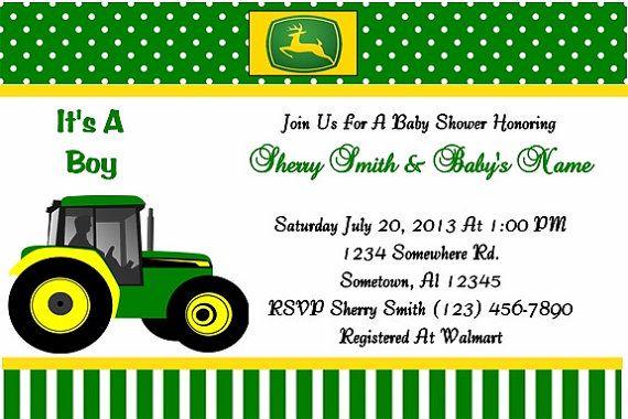 John Deere Baby Shower Invitation Green Boy By Sherryskreations