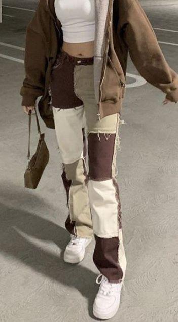 Brown Patchwork Denim Boyfriend Jeans | Jaded Lond
