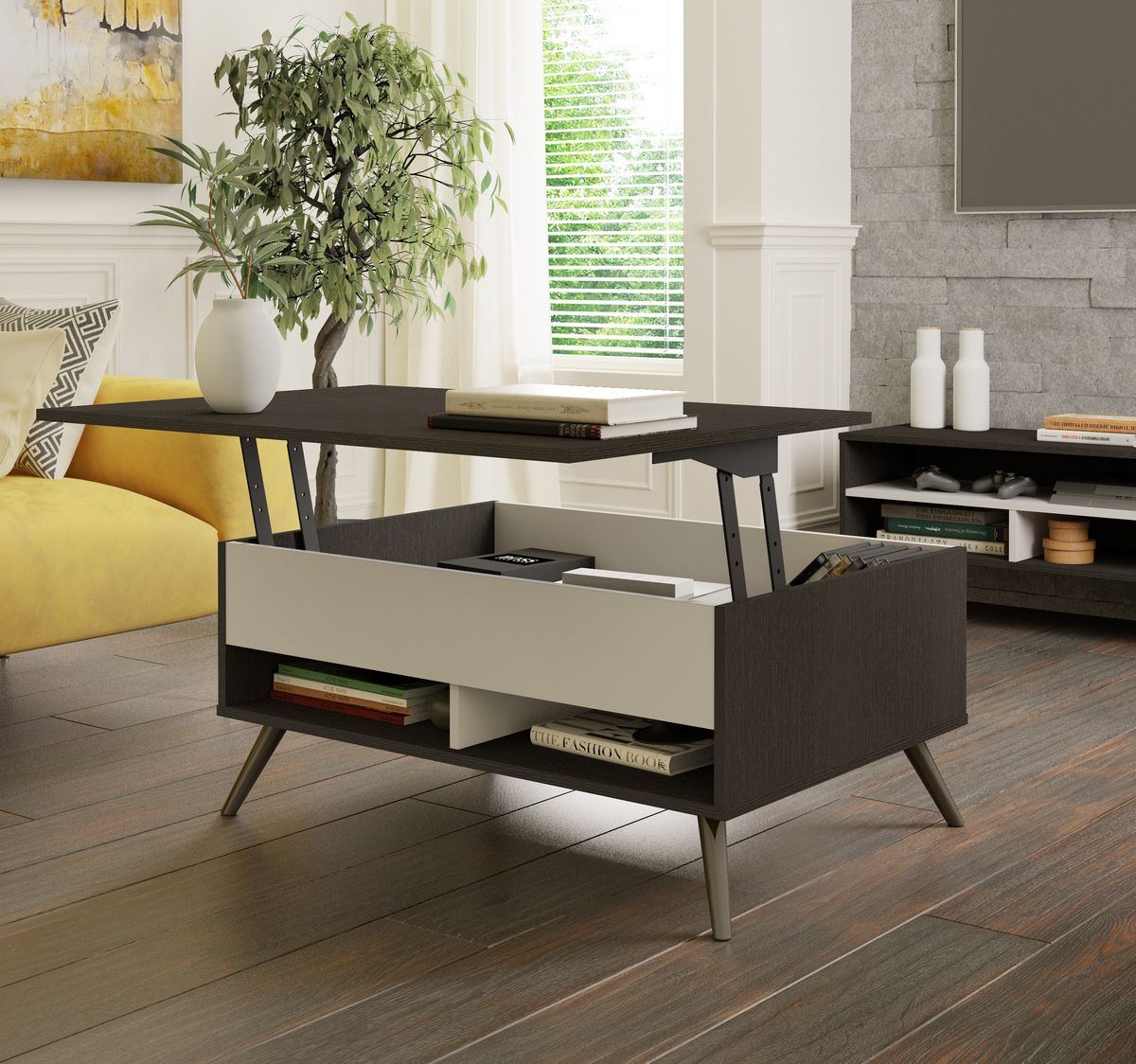 Small Space Krom 37 Inch Lift Top Storage Coffee Table In Deep Grey White Bestar In 2021 Coffee Table Rectangle Coffee Table With Storage Rectangular Coffee Table [ 1124 x 1200 Pixel ]