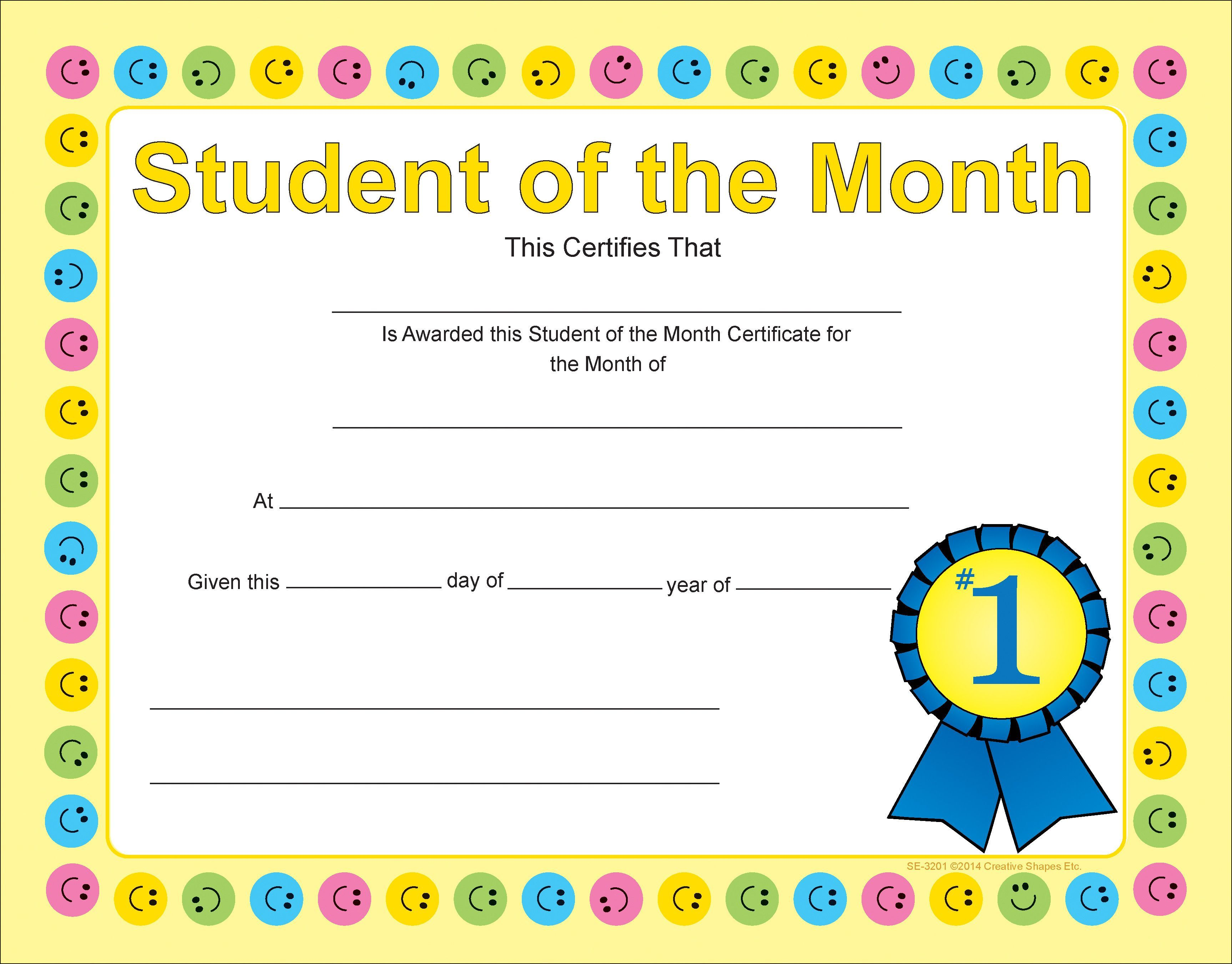 Recognition Certificate Student Of The Month Student Of The Month Certificate Templates Certificate Of Achievement Template Student of the month award template