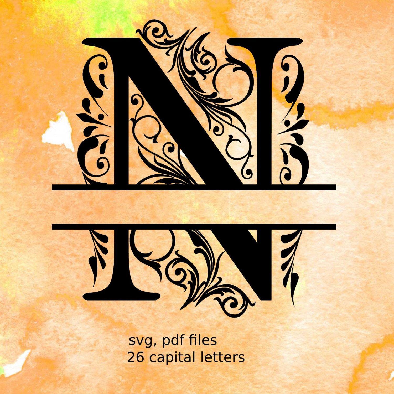 Split Monogram Letters, Split Alphabet svg files, vector