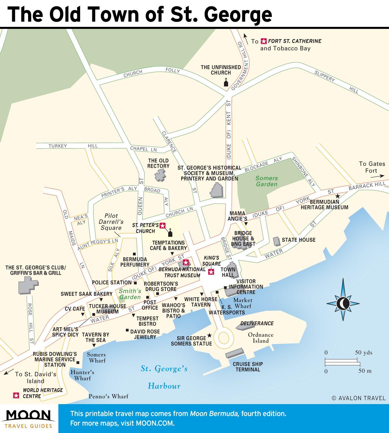 Map of Old Town St George Bermuda Pinterest Hamilton