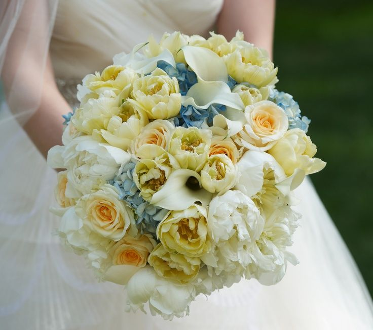 denim and butter yellow decorating | Romantic blue, white and butter yellow bridal bouquet {Evantine Design ...