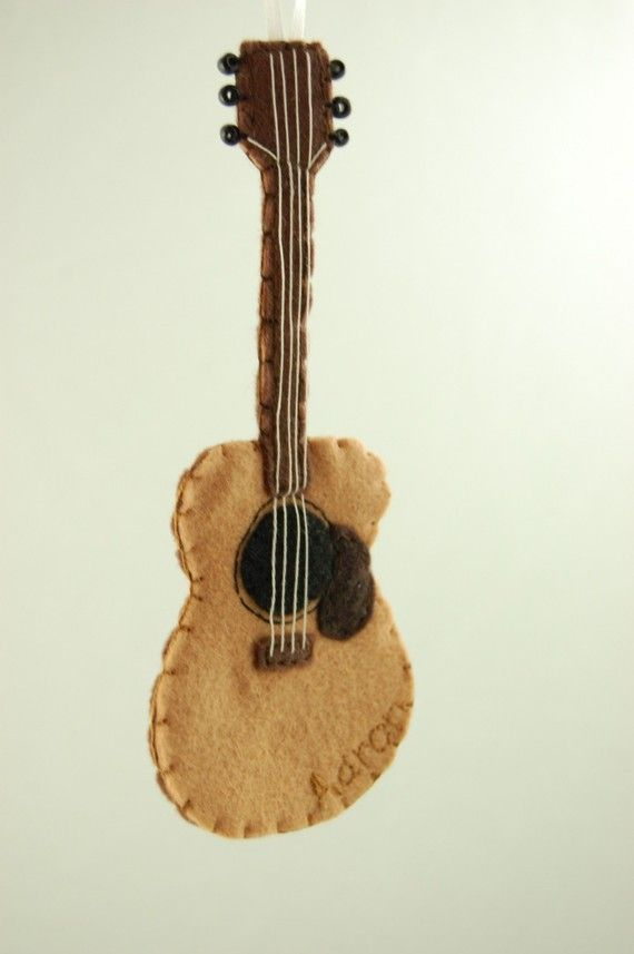 Personalized Acoustic Guitar Felt Ornament Made To Order How To Make Ornaments Felt Ornaments Guitar