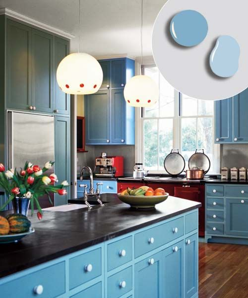 Color  Kitchen With Shaker Style Cabinets With Pale Blue Painted Cabinet  Boxes And Darker Blue Painted Cabinet Doors And Drawers.
