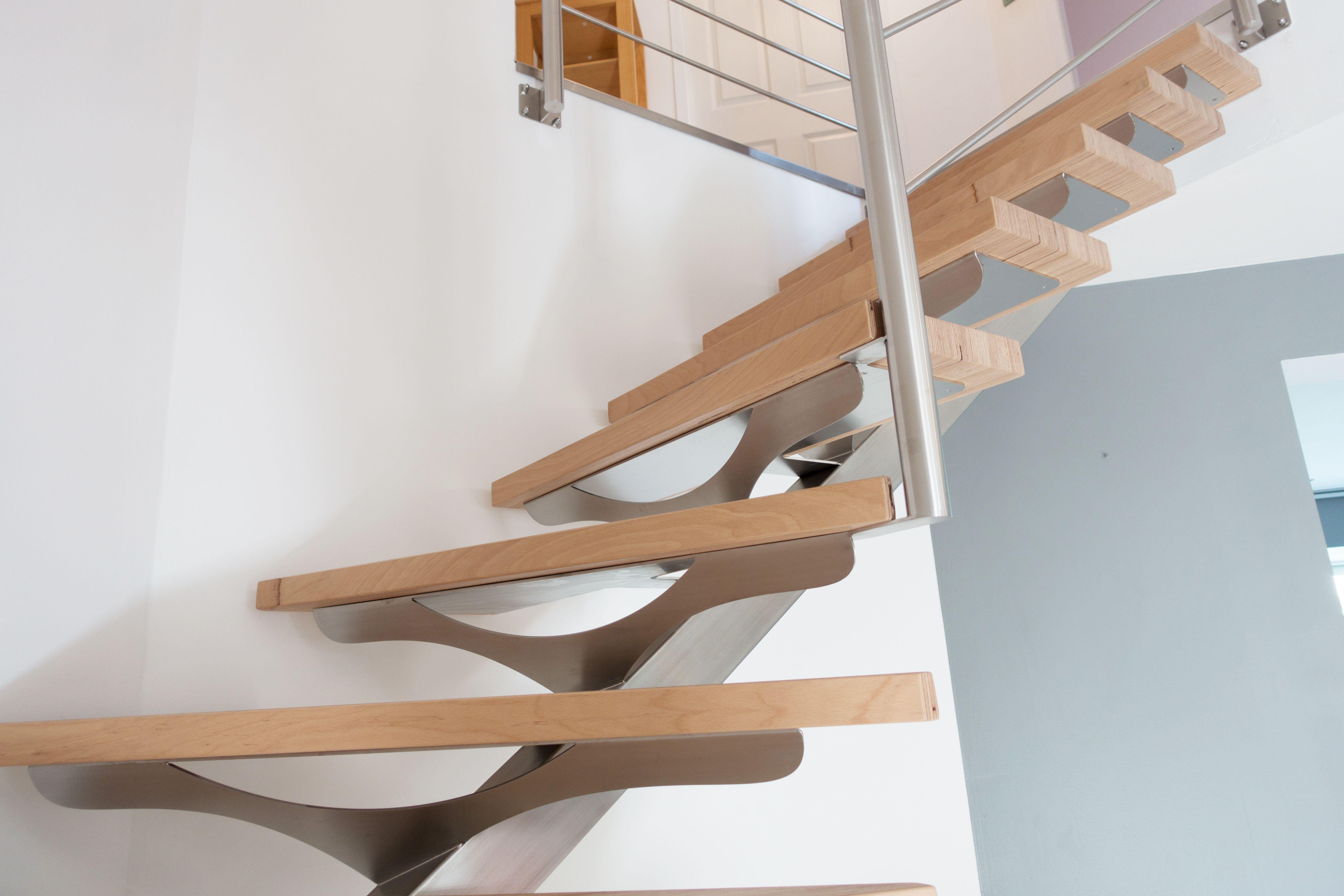 escalier contemporain design et sur mesure, structure inox brossé et ...