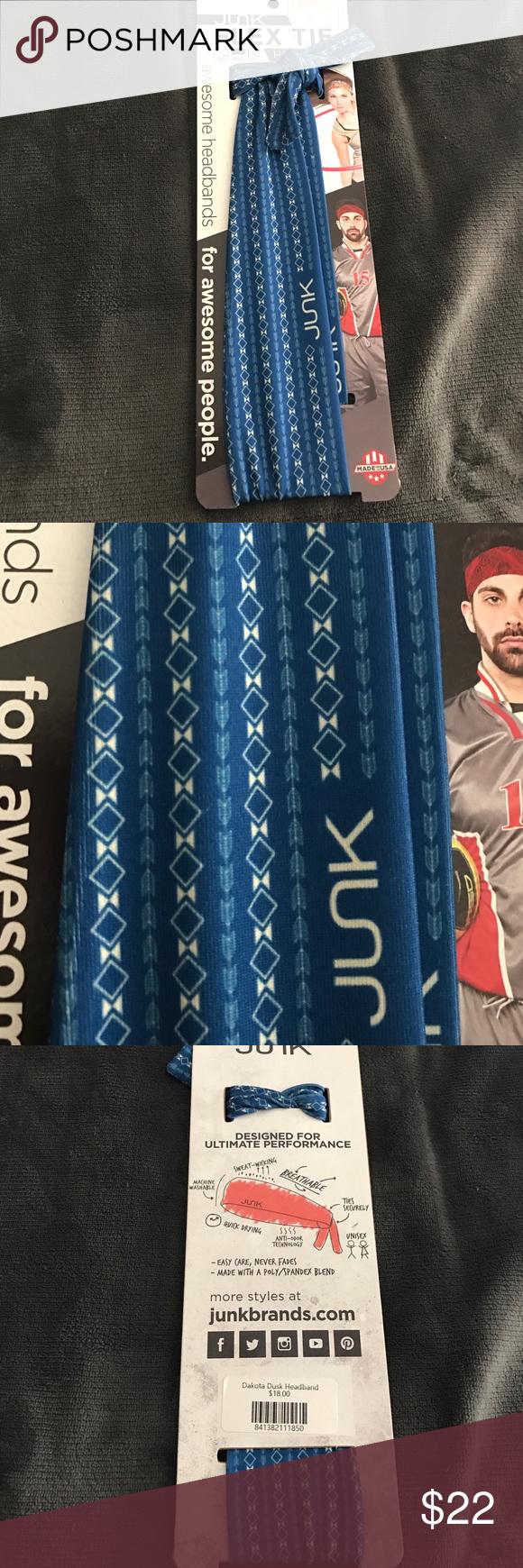 NWT JUNK Brand HeadBand NWT JUNK Brand Flex Tie HeadBand. Machine Washable. Moisture wicking fabric Accessories