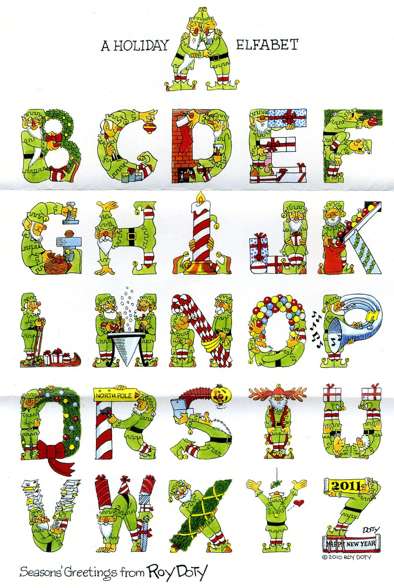 Christmas alphabet creative lettering alphabet abc of - Alphabet noel ...