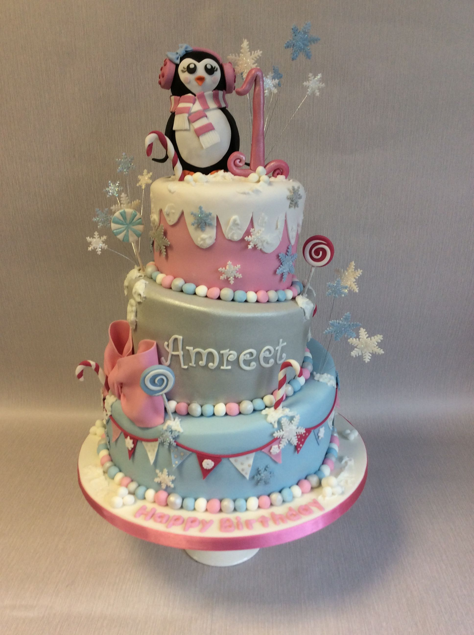 Penguin Party 3 tier wonky 1st birthday cake for a December birthday