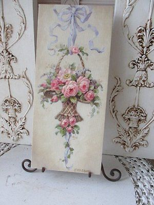 GORGEOUS Christie REPASY Canvas Print French Basket of PINK ROSES & Easel