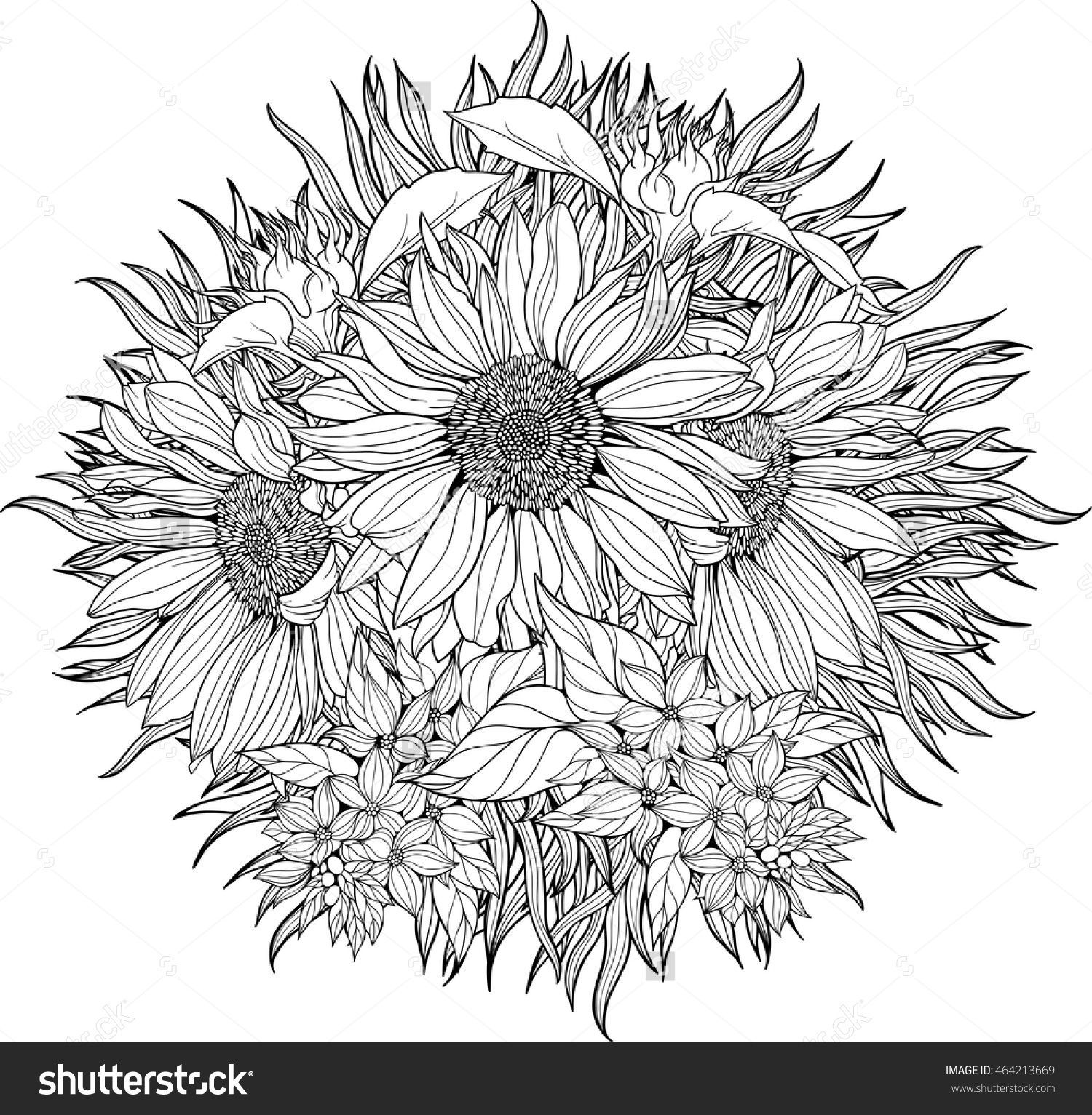 closeup view of bunch of sunflowers. coloring page