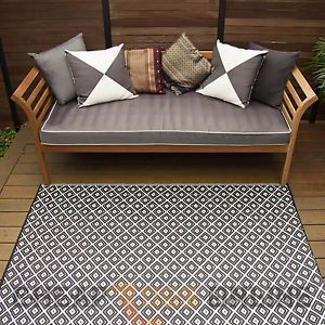 180x270 Outdoor Plastic Rug Kimberley Black White Waterproof Modern Mat Fab Rugs