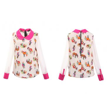Women's Fashion Printed Splicing Peter Pan Collar Slim Chiffon Shirt