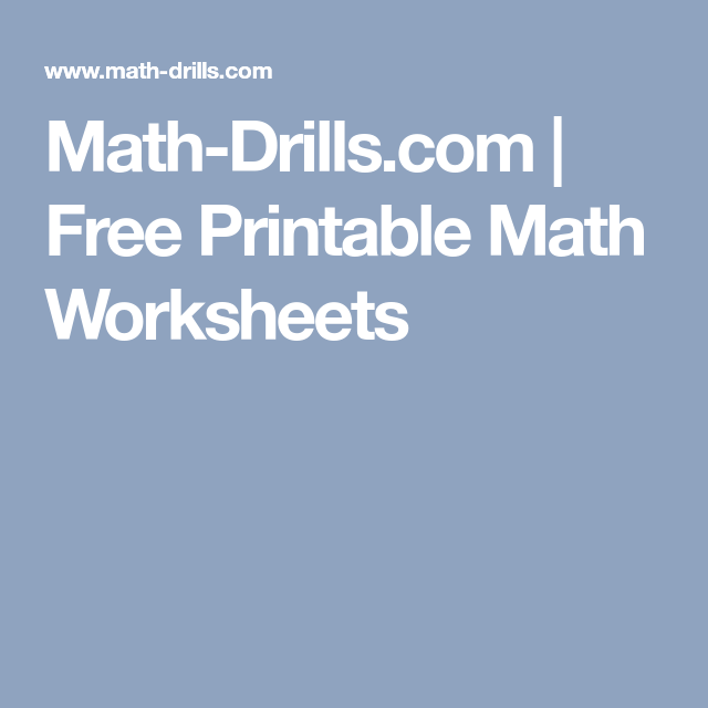 Math-Drills.com   Free Printable Math Worksheets   FREE Worksheets ...