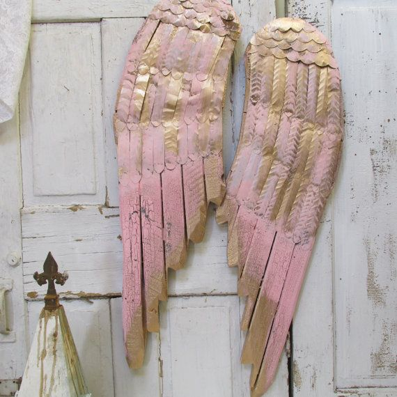 Powder pink angel wings wall decor accented in gold metal and wood ...