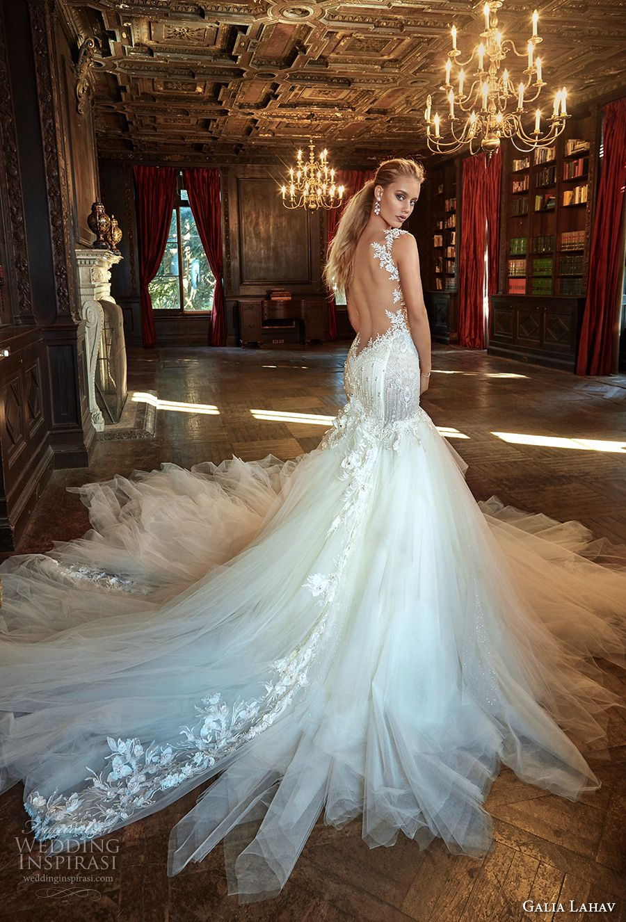 Galia Lahav Fall 2017 Bridal Sleeveless Strap Sweetheart Neckline Bustier Bodice Heavily Embellished Tulle Skirt Y Mermaid Wedding Dress Low Back
