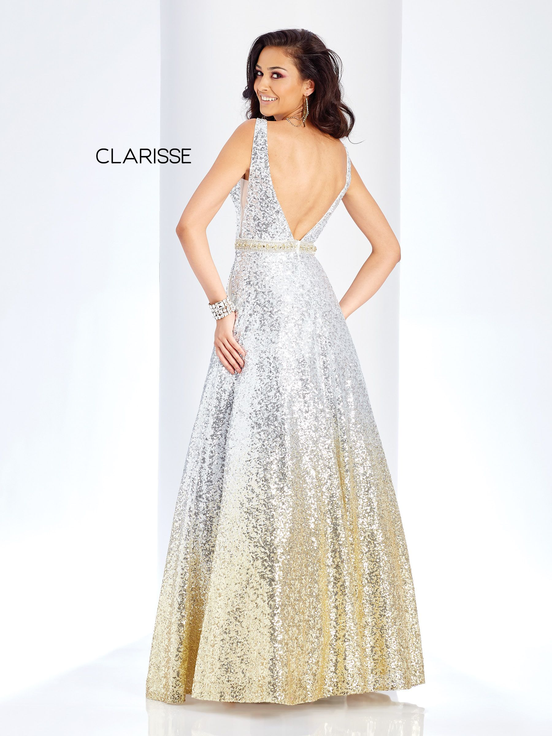 425e58208f2 3589 Silver Ombre Sequin Prom Dress With A Beaded Belt Clarisse