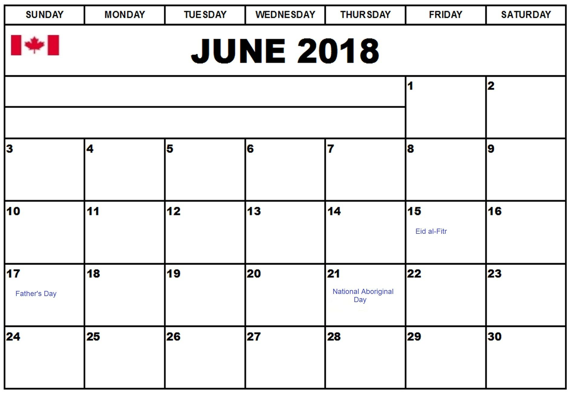 June 2018 Calendar For Canada Calendar Holiday Calendar June