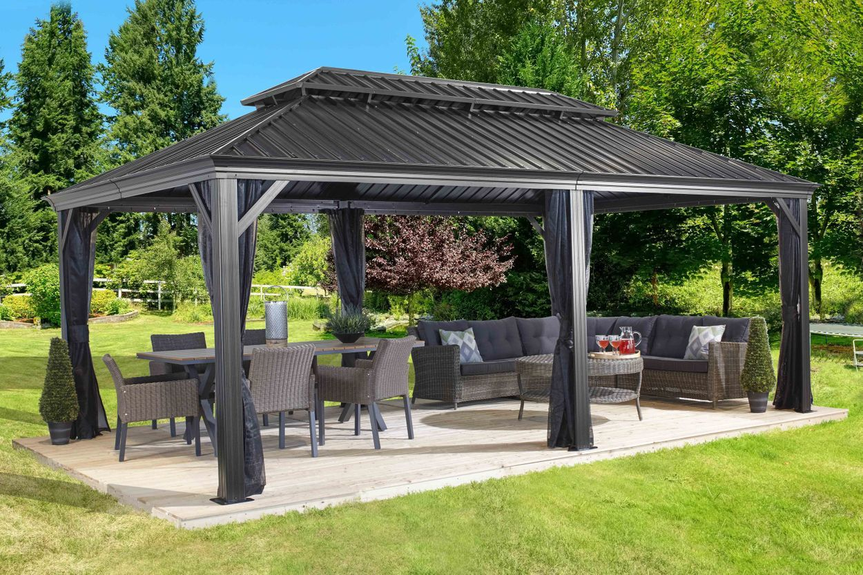 Messina Galvanized Steel Roof Sun Shelter In Dark Gray In 2020 Backyard Pavilion Backyard Gazebo Patio Gazebo