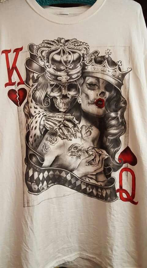 0c711529f King and queen skulls | skulls | Queen tattoo, Card tattoo, King ...