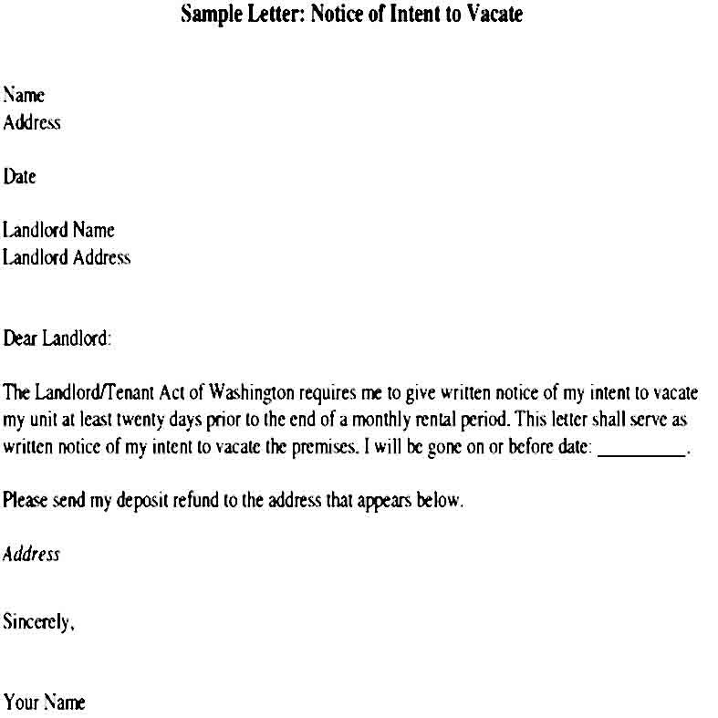 Sample Intent To Vacate Letter Template Letter Templates
