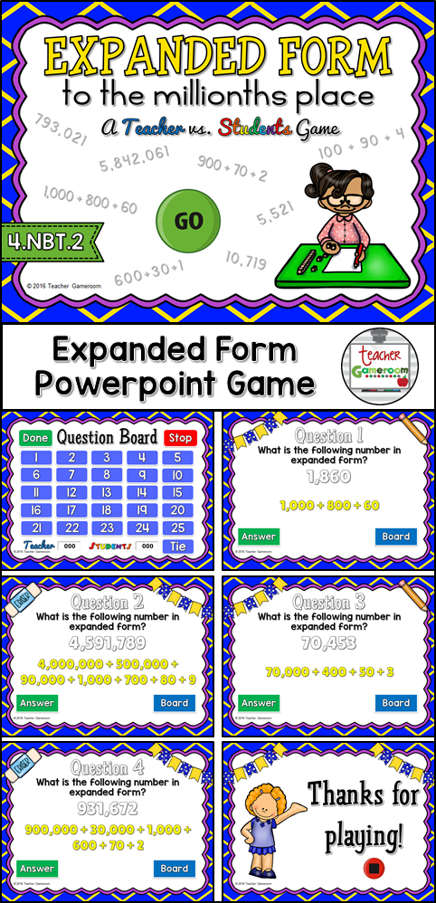 Expanded Form To Millions Powerpoint Game Expanded Form Maths And
