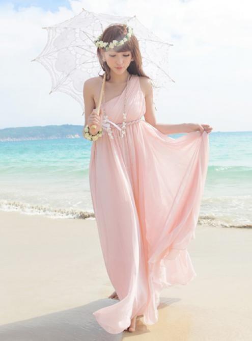 one shoulder chiffon pink pleating long dress