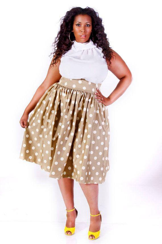 JIBRI Plus Size High Waist Flare Skirt (Tan Polka Dot) | Things to ...