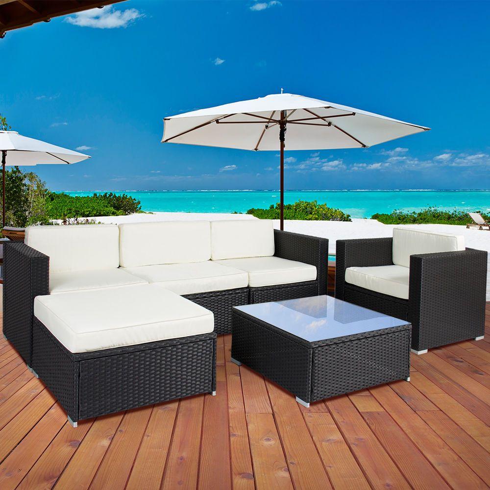 6PC Outdoor Patio Garden Furniture Wicker Rattan Sofa Set