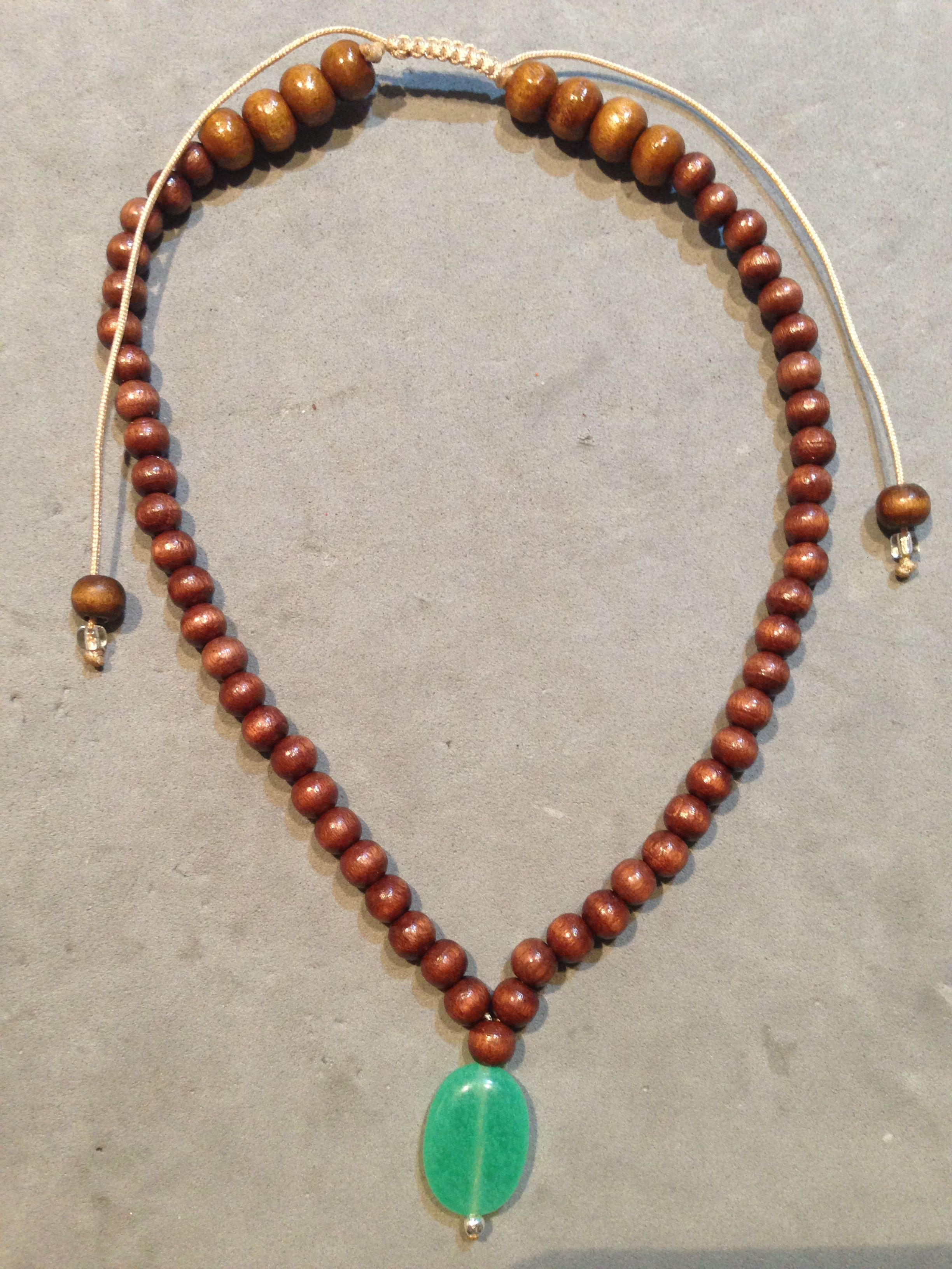 Collar de joyería de moda Marrón granos de larga longitud