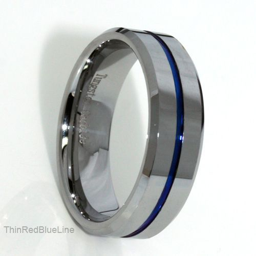35 Thin Blue Line Tungsten Carbide Ring IP 8MM Donations Made To Firefighter And Police Officer WeddingPolice Wife RingFirefighter