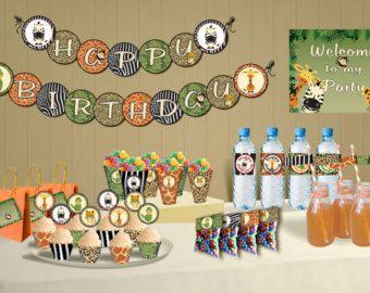 Safari theme birthday Jungle party theme DIY Printable Package