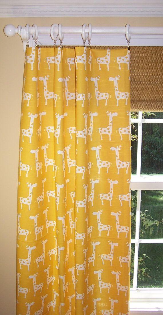 YELLOW CURTAINS Premier Fabric Corn Yellow Pair Drapery Panels 50 Wide 3 Rod Pocket Custom Curtains Giraffe Nursery Babybaby