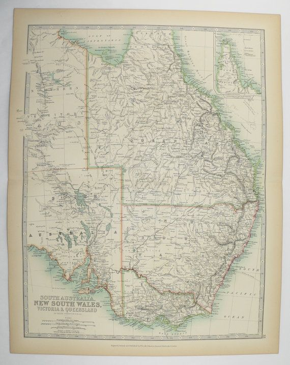 Map Of Nsw And Victoria Australia.Antique Map Of Australia 1905 Johnston Map Victoria Australia