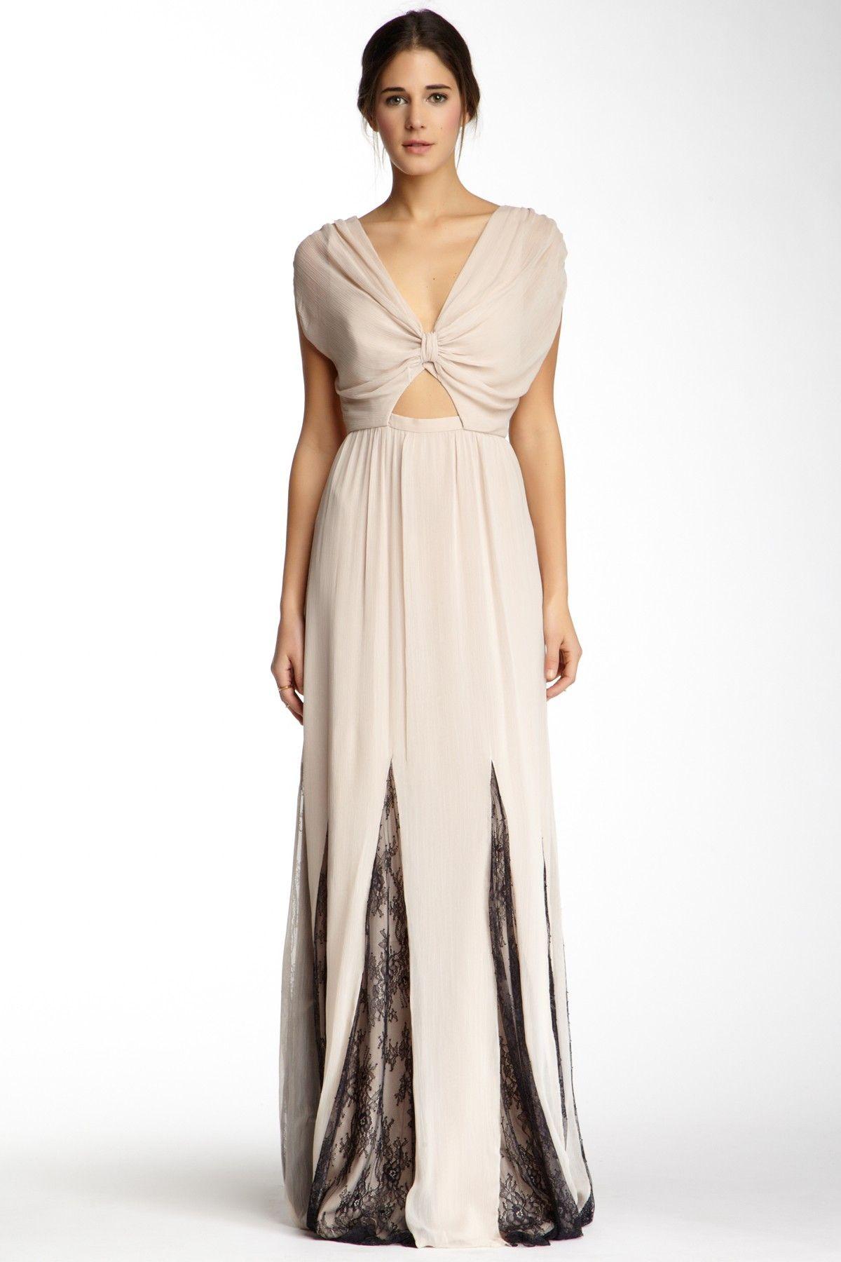 Knotted Lace Trim Maxi Dress   Lace trim, Alice olivia and Maxi dresses