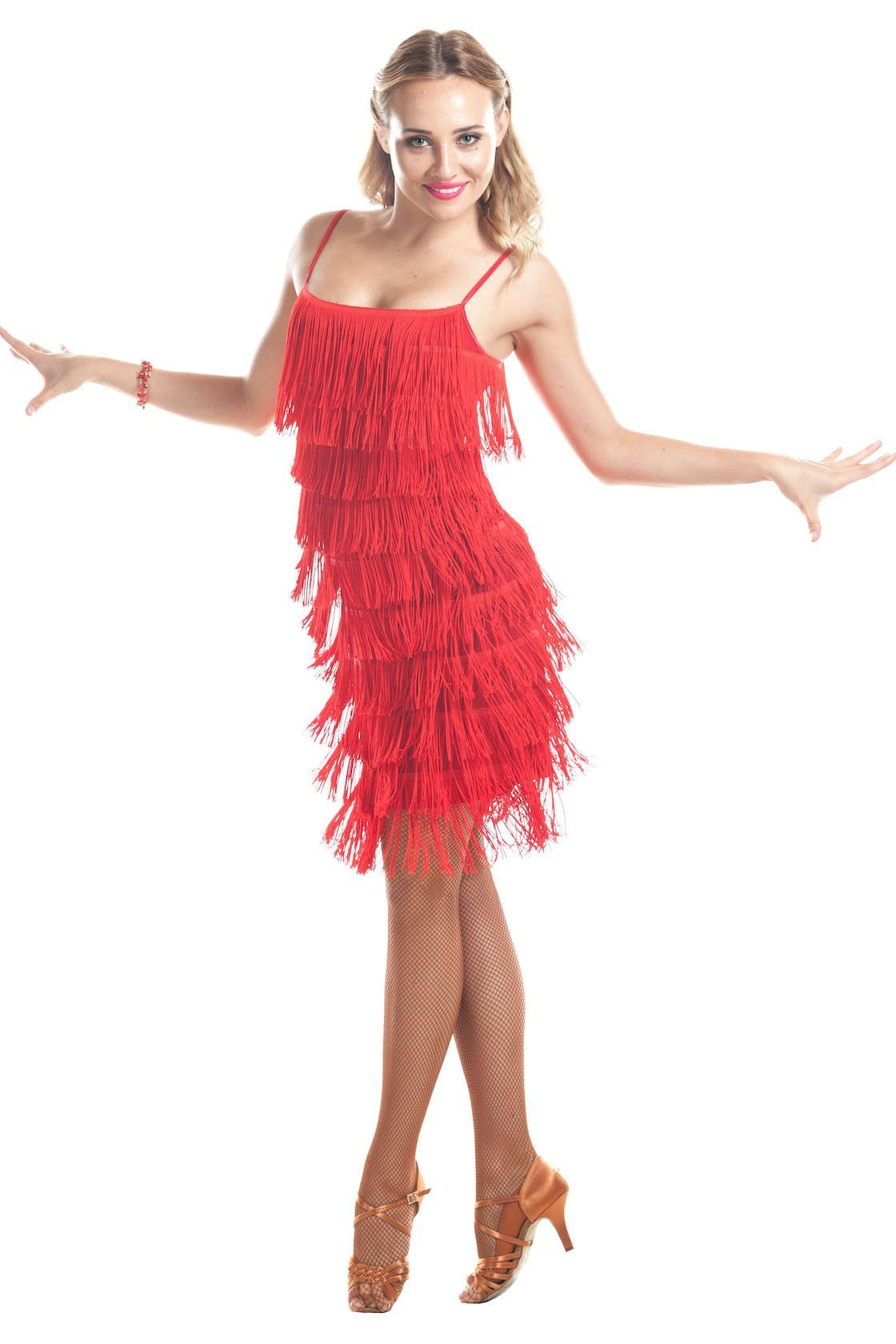 Ibiza Red Fringe Dance Dress Ballroom Dresses Baile Latino
