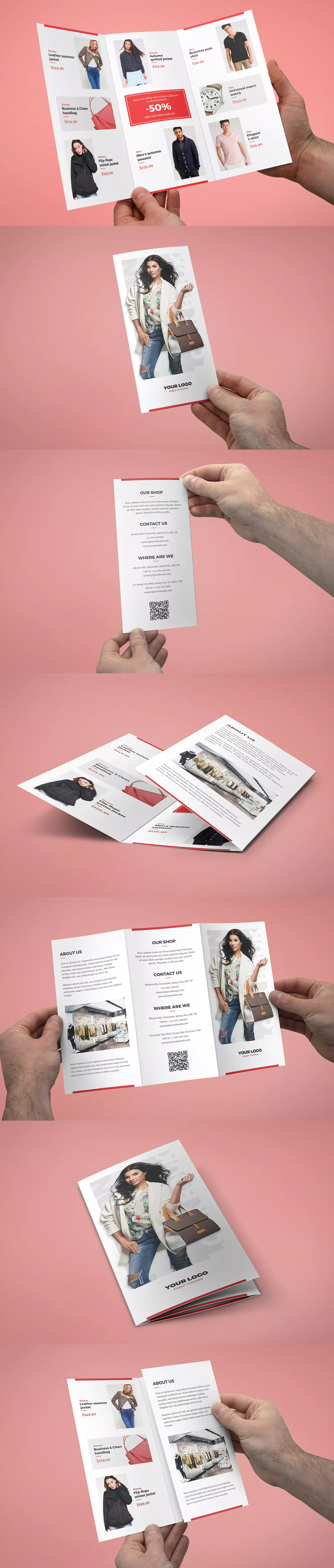 fashion look book tri fold brochure template psd a4 and us letter size