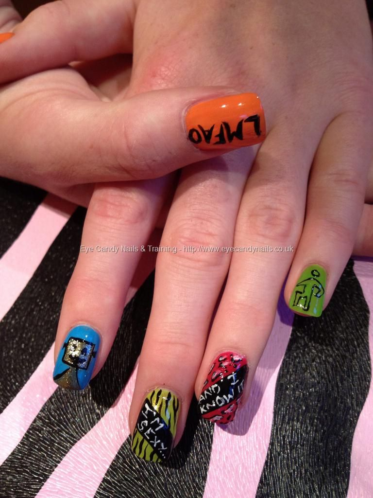 Lmfao freehand nail art | Nails | Pinterest | Crazy nails, Beautiful ...