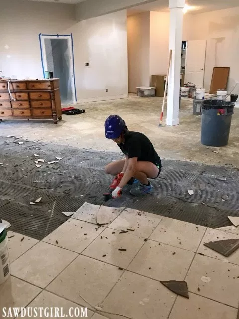 Removing Tile And Thinset From Concrete Sawdust Girl In 2020 Concrete Floors Diy Tile Removal Removing Floor Tiles