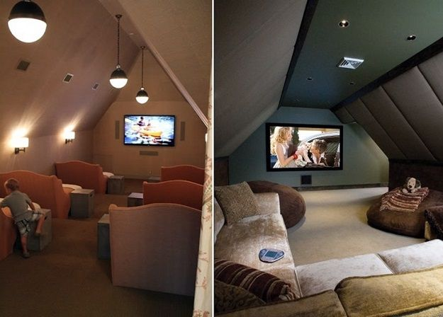 Cleverly Increase Living Space By Making Use Of Unused Attic Architecture Design Home Cinema Room Attic Living Rooms Cinema Room