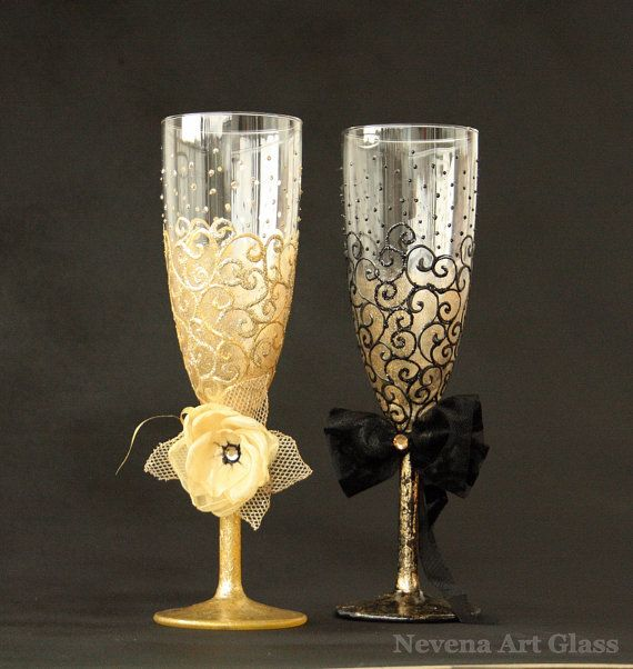 Champagne GlassesHAND PAINTED Wedding Glasses by NevenaArtGlass, $49.00