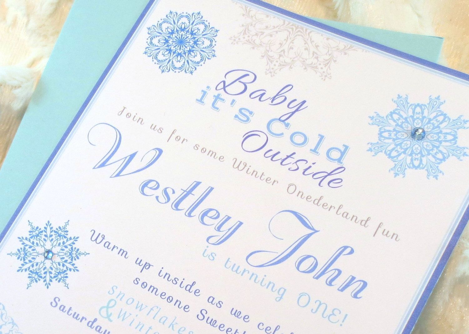 Set of 12 Snowflake Invitations Boy Blue and Gray Grey Baby its