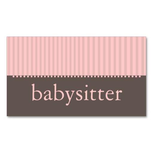 Pretty Pink Stripes Babysitting Business Card