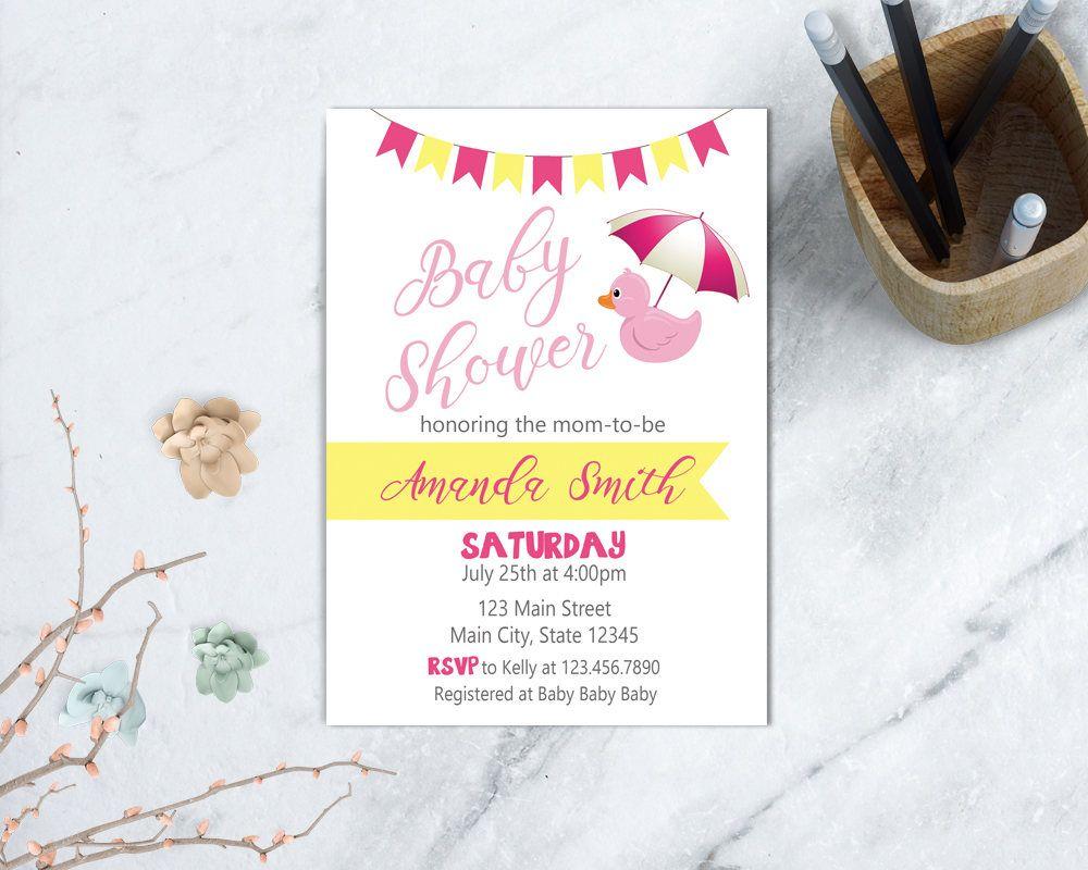 Duck Baby Shower Invitation, Girl Baby Shower, Pink Rubber Duck ...