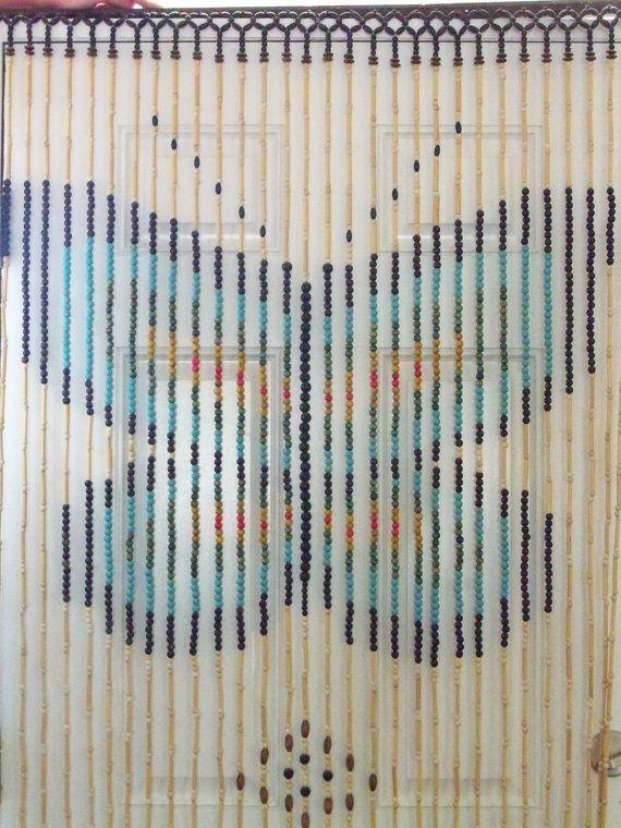 Wooden Bead Door Curtain Vintage Groovy Butterfly Design Retro 70s