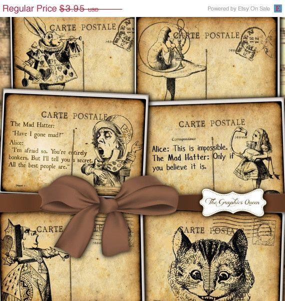75% OFF SALE Vintage Steampunk Alice in Wonderland Digital Greeting Cards Postcards Party Decor Print Invitation Digital Collage Sheets