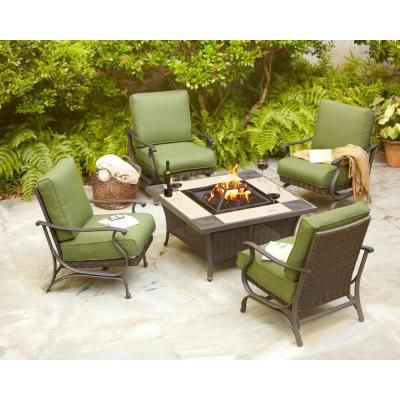 Hampton Bay Pembrey Patio Fire Pit Chat Set With Moss Cushions At The Home Depot Mobile