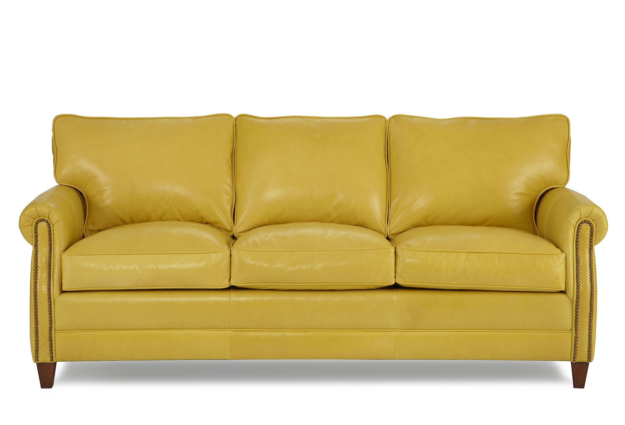 Love the yellow leather sofa with nailhead trim! | Yellow ...